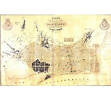 Vintage Map of Barcelona Spain (1859) Photographic Print