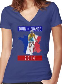 Le Tour 2014 Women's Fitted V-Neck T-Shirt