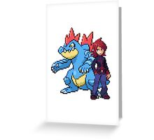 Silver And Feraligatr Greeting Card