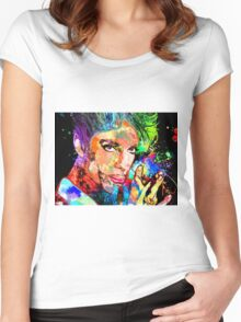 Colorful Portrait Grunge Women's Fitted Scoop T-Shirt