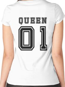 Sports Queen - Funny College Football Retro Design for Girls Women's Fitted Scoop T-Shirt