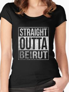 Straight Outta Beirut US soldiers army veterans funny t-shirt Women's Fitted Scoop T-Shirt
