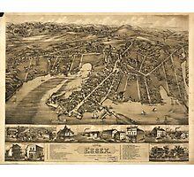 Vintage Pictorial Map of Essex Connecticut (1881) Photographic Print