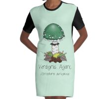 Verdigris Agaric (with smiley face) Graphic T-Shirt Dress