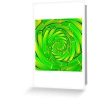 green and yellow block swirl vortex Greeting Card