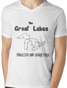 Great Lakes Unsalted and Shark Free Mens V-Neck T-Shirt