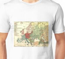 Vintage Linguistic Map of Europe (1907) Unisex T-Shirt