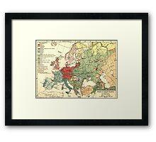 Vintage Linguistic Map of Europe (1907) Framed Print