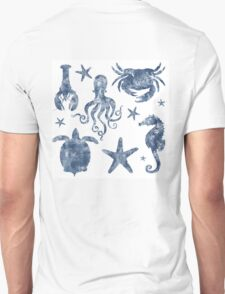 Delft Blue nautical Marine Life pattern, coastal beach Unisex T-Shirt
