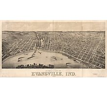 Vintage Pictorial Map of Evansville Indiana (1880) Photographic Print