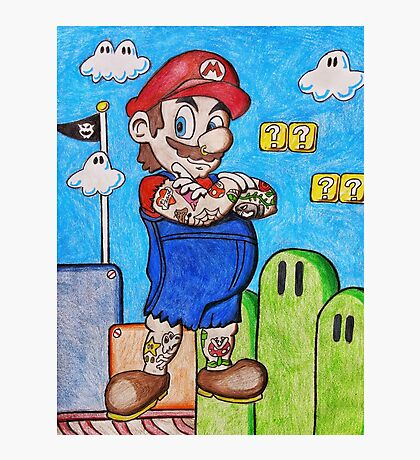 Tattooed Mario Photographic Print