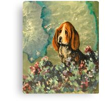 Basset Hound in Flowers Canvas Print