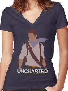 Uncharted - Minimalist Art Women's Fitted V-Neck T-Shirt