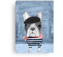 French Bulldog in front of Arc de Triomphe. Canvas Print