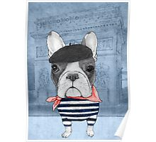 French Bulldog in front of Arch de Triomphe. Poster