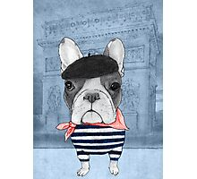 French Bulldog in front of Arch de Triomphe. Photographic Print