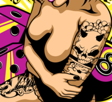 Tattooed Game Pin-Up Girl V2 Sticker