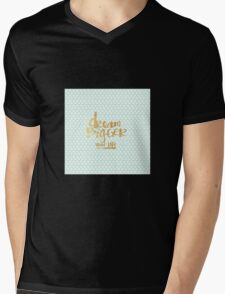 "Mint polka dots,white,gold faux text,typography,""Dream bigger then life"" Mens V-Neck T-Shirt"