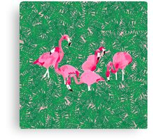 Flamingos on delicious monsters Canvas Print