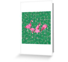 Flamingos on delicious monsters Greeting Card