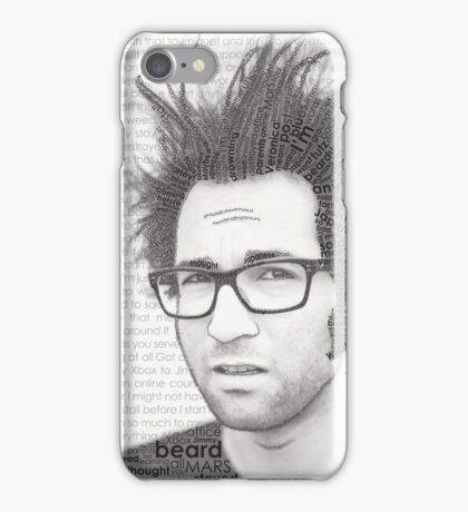 Typography Portrait of Justin Pierre (singer/guitarist) of Motion City Soundtrack iPhone Case/Skin