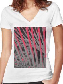Pandanas Black & Red Women's Fitted V-Neck T-Shirt