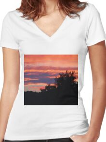 Behind The Trees Women's Fitted V-Neck T-Shirt