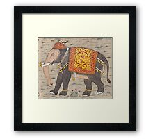 Vintage Decorated Elephant Painting (17th Century) Framed Print