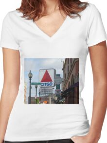 Citgo Sign At Fenway Park Women's Fitted V-Neck T-Shirt