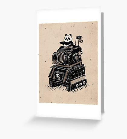 Panda's Skull Tank Vintage Style Greeting Card