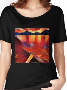 Abstract landscape in red Women's Relaxed Fit T-Shirt