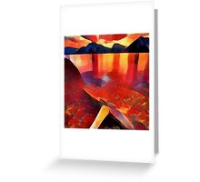 Abstract landscape in red Greeting Card