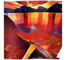 Abstract landscape in red Poster
