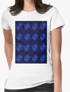 Blue Snowflake Girly Pattern Print Womens Fitted T-Shirt