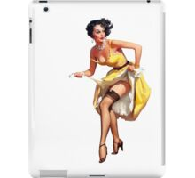 pin up girl yellow dress black panty hose high heels iPad Case/Skin