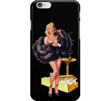 pin up girl on telephone black fur iPhone Case/Skin