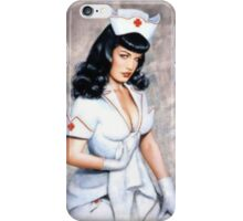 bettie page sexy nurse pin up girl iPhone Case/Skin