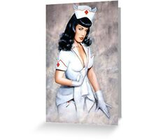 bettie page sexy nurse pin up girl Greeting Card