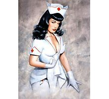 bettie page sexy nurse pin up girl Photographic Print