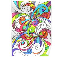 Floral Doodle Drawing Poster