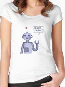 a friendly robot Women's Fitted Scoop T-Shirt