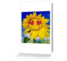 Fun,funny,Sun flower,sunny,kid,kids,smiley,smile,deep blue,yellow,red,green Greeting Card