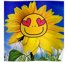 Fun,funny,Sun flower,sunny,kid,kids,smiley,smile,deep blue,yellow,red,green Poster