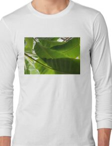 Luscious Tropical Greens - Huge Leaves Patterns - Horizontal View Upwards Right  Long Sleeve T-Shirt