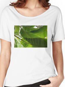 Luscious Tropical Greens - Huge Leaves Patterns - Horizontal View Upwards Right  Women's Relaxed Fit T-Shirt