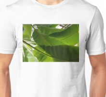 Luscious Tropical Greens - Huge Leaves Patterns - Horizontal View Upwards Right  Unisex T-Shirt