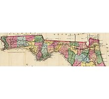 Vintage Map of The Florida Panhandle (1870) Photographic Print