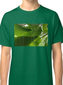 Luscious Tropical Greens - Huge Leaves Patterns - Horizontal View Upwards Left Classic T-Shirt