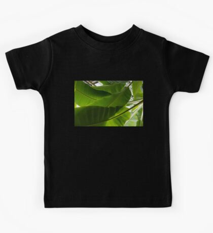 Luscious Tropical Greens - Huge Leaves Patterns - Horizontal View Upwards Left Kids Tee