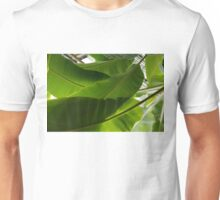 Luscious Tropical Greens - Huge Leaves Patterns - Horizontal View Upwards Left Unisex T-Shirt